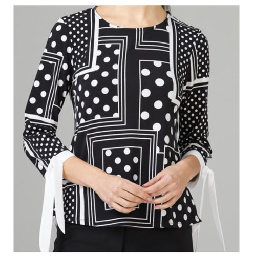 Black and White Multimedia Ruffle Back Tie Sleeve Blouse
