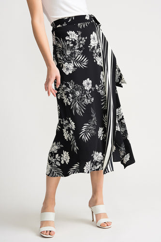 Floral Striped Wrap Skirt