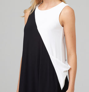 Geometric Black and White Color Block Dress