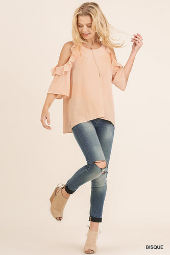 Peachy Cold Shoulder Blouse