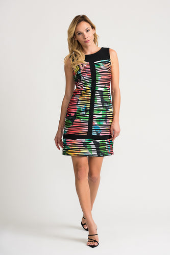 Black Pleated Floral Multicolor Sheath Dress