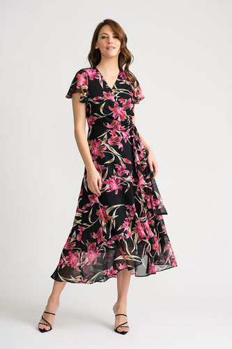 Chiffon Overlay Lily Patterned Dress