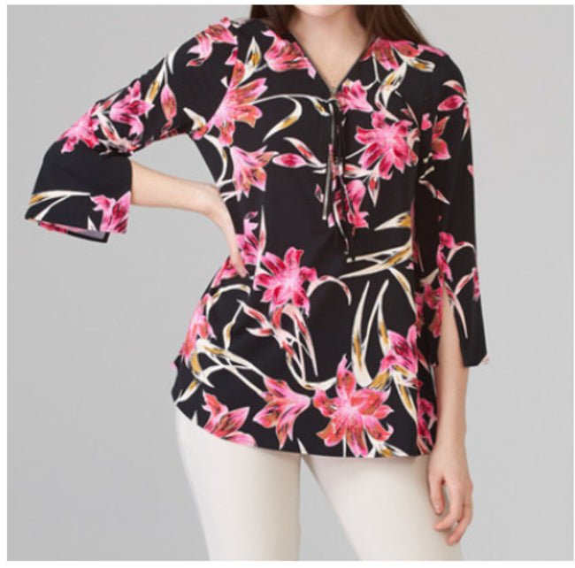 Lily Pattern Zipper Pull V Neck Casual Tunic
