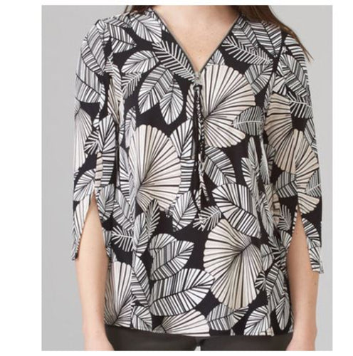 Black and White Tropical Leaf Patterned Zipper Pull Tunic