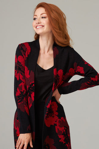 Black & Red Floral Cover Up