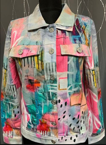 Abstract Button Jacket With Front Chest Pockets