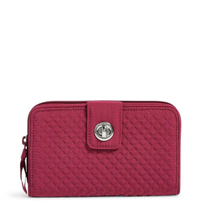 Patterned Quilted RFID Turnlock Wallet
