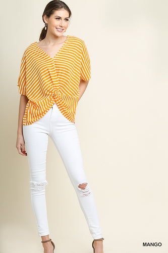 Mango Striped Short Dolman Sleeve Top With Gathered Knot