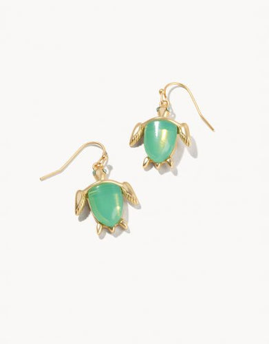 Sea Turtle Drop Earrings - Gold