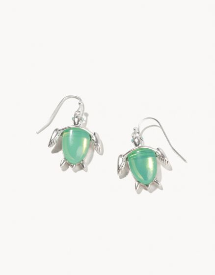 Sea Turtle Drop Earrings - Silver