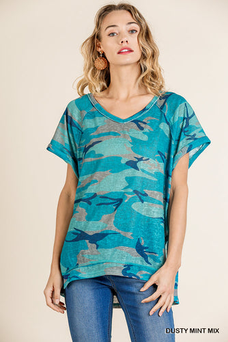 Dusty Turquoise Camouflage Print Top