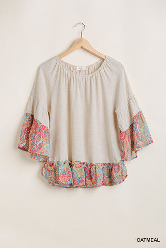 3/4 Sleeve Top With Bright Paisley Details