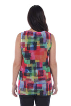 Load image into Gallery viewer, Vibrant Geometric Square Printed Mesh Sleeveless Blouse