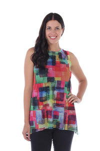 Vibrant Geometric Square Printed Mesh Sleeveless Blouse