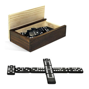 Double 6 Black Dominoes In Wooden Case