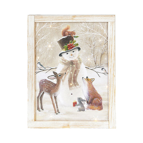 Snowman and Friends Lighted Framed Print