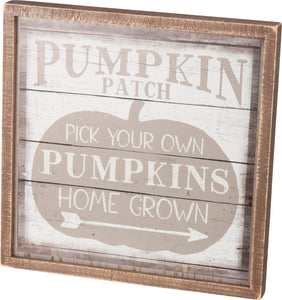 Pumpkin Wood Box Sign