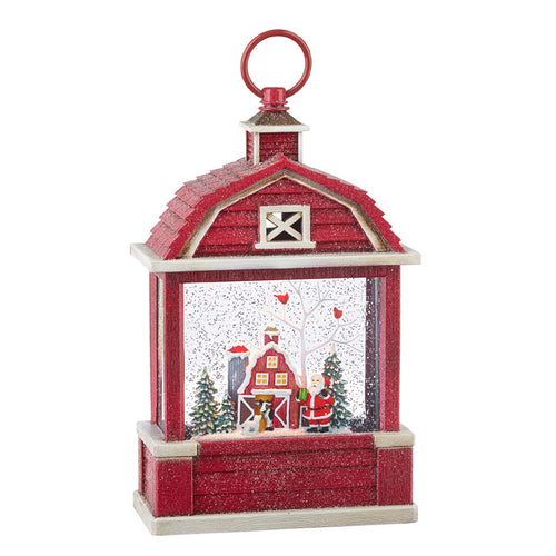 Santa Lighted Barn Lantern