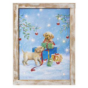 Puppies With Presents Lighted Wall Art