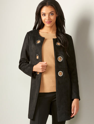 Black Faux Suede Coat