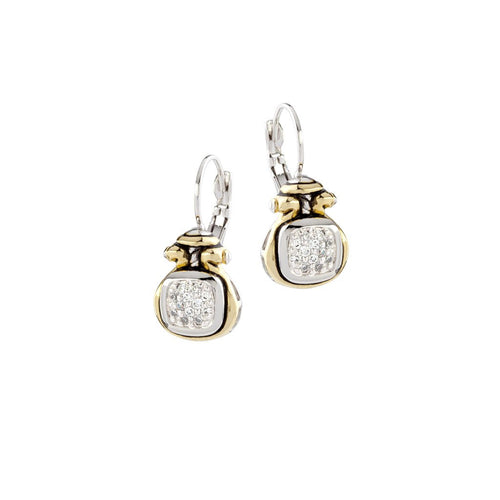 Anvil Pavé Two Tone Earrings