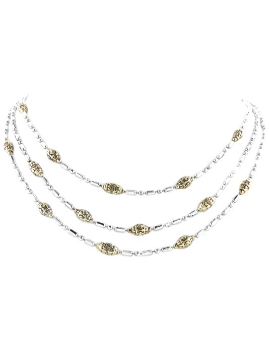 Beaded Two Tone Triple Strand Necklace