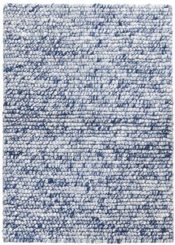 Niels Navy Woven Wool/Viscose Rug (Various Sizes)