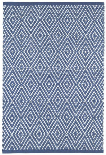 Diamond Denim/White Indoor/Outdoor Rug (Various Sizes)
