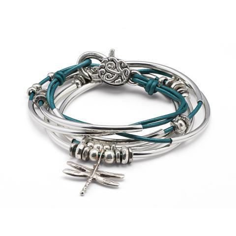 Dragonfly Teal Leather 2 Strand Bracelet