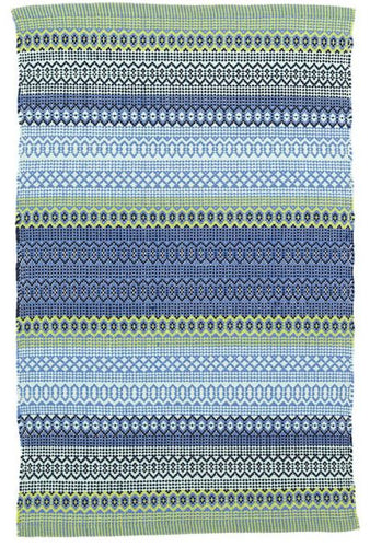 Fiesta Stripe French Blue/Green Indoor/Outdoor Rug (Various Sizes)