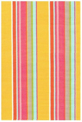 Happy Yellow Stripe Indoor/Outdoor Rug (Various Sizes)