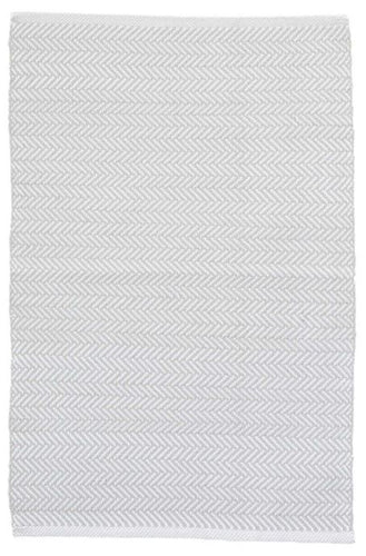Herringbone Pearl Grey/White Indoor/Outdoor Rug (Various Sizes)