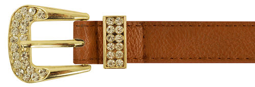 Taupe Rhinestone Gold Buckle Belt