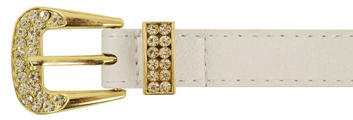 White Rhinestone Gold Buckle Belt