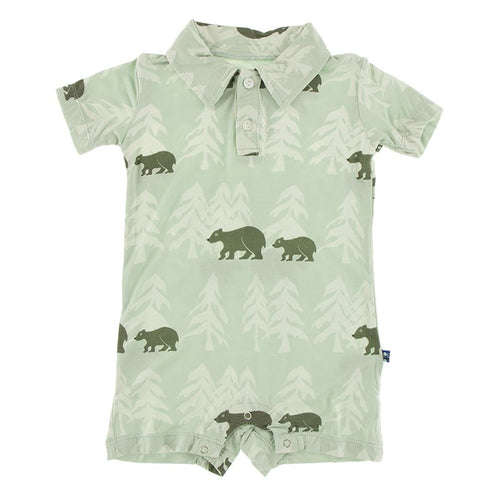 Short Sleeve Polo Romper - Aloe Bears & Treeline