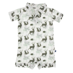 Short Sleeve Polo Romper - Natural Forest Animals
