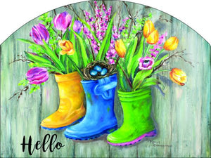 Rain Boots Hello Plaque-Large