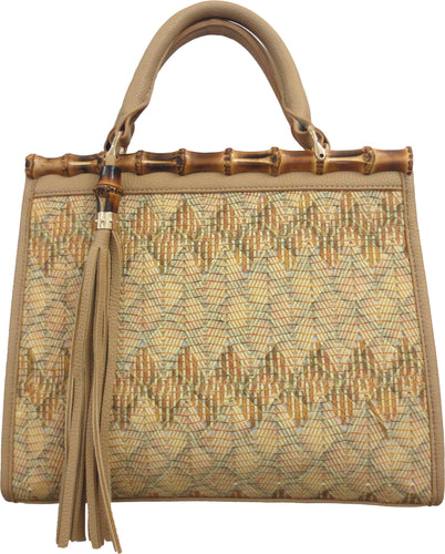 Woven Satchel With Bamboo Trim