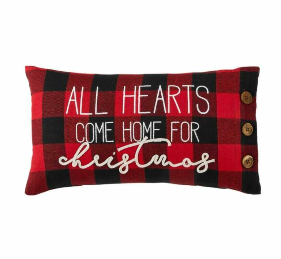 All Hearts Check Pillow