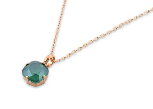 Rose Gold Turquoise Swarovski Crystal Pendant Necklace