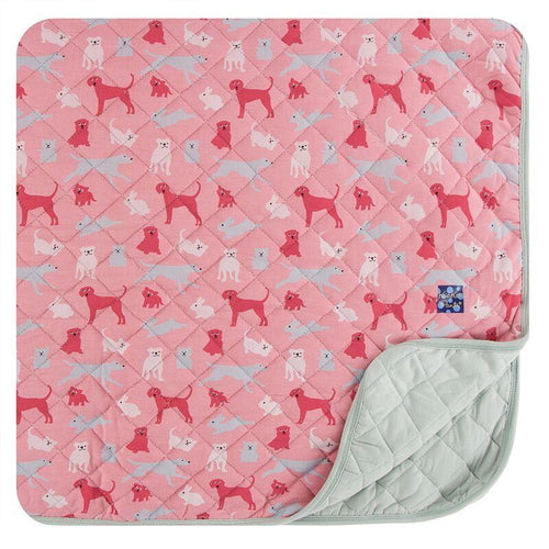 Quilted Toddler Blanket - Aloe & Strawberry Animals