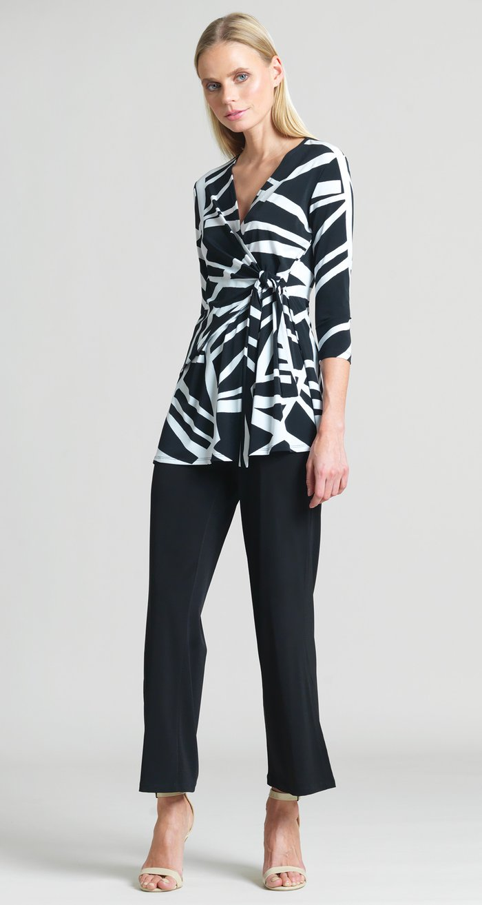 Zig Zag Stripe Print Side Tie Wrap Tunic