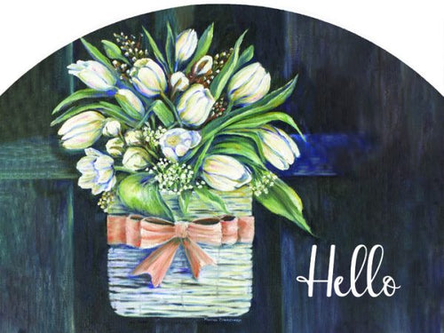 Tulips On Black Hello Plaque-Large