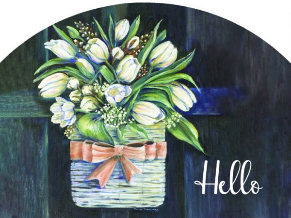 Tulips On Black Hello Plaque-Small