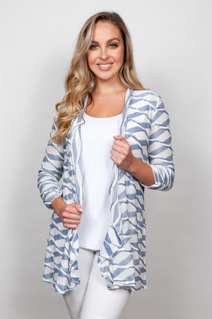 Wavy Stripe Cardigan Chambray