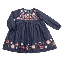 Load image into Gallery viewer, Chambray Embroidery Dress