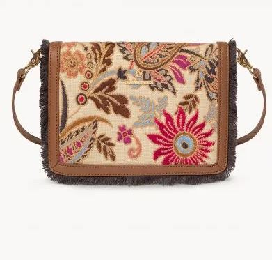 Barbee Floral Linen-and-Leather Clutch Crossbody