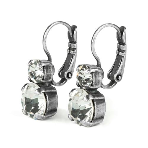 Clear Crystal Double Drop Earrings