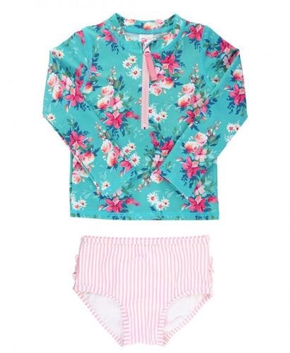 Floral Long Sleeve Zipper Bikini