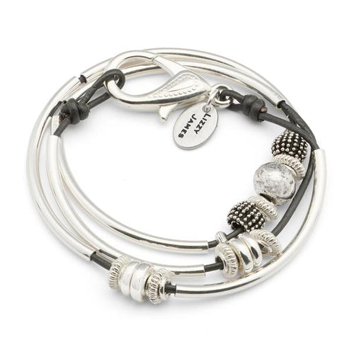 Ginger Silverplate Gunmetal Leather Bracelet